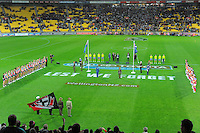 A general view of the ANZAC Day AFL match between St Kilda Saints and Brisbane Lions at Westpac Stadium, Wellington, New Zealand on Friday, 25 April 2014. Photo: Dave Lintott / lintottphoto.co.nz
