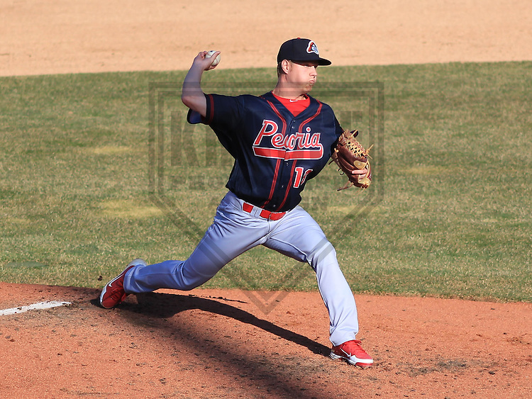 APPLETON - April 2015: pitcher Blake McKnight (18) of the Peoria Chiefs during a game against the Wisconsin Timber Rattlers on April 12th, 2015 at Fox Cities Stadium in Appleton, Wisconsin. (Photo Credit: Brad Krause)