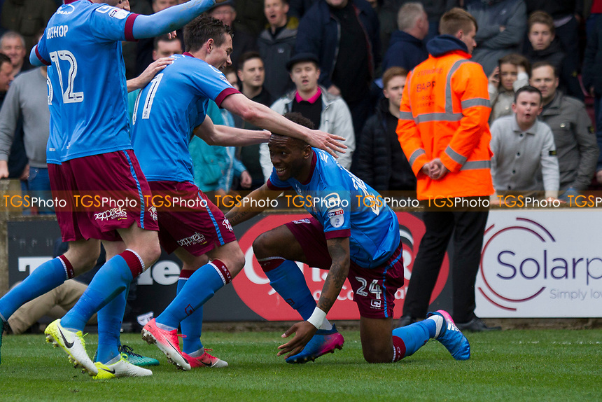 Toney (Scunthorpe) celebrates his goal during Scunthorpe United vs Millwall, Sky Bet EFL League 1 Play-Off Football at Glanford Park on 7th May 2017