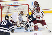 Brennen Wray (StFX - 16), Brian Billett (BC - 1), Michael Kirkpatrick (StFX - 18), Danny Linell (BC - 10), Isaac MacLeod (BC - 7) - The Boston College Eagles defeated the visiting St. Francis Xavier University X-Men 8-2 in an exhibition game on Sunday, October 6, 2013, at Kelley Rink in Conte Forum in Chestnut Hill, Massachusetts.