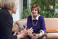 Kitty Dukakis (right), wife of former Massachusetts governor Michael Dukakis, speaks with Kate MacDonald (left), of Cambridge, Mass., during a support group for people who have had electroconvulsive therapy in their home in Brookline, Massachusetts, USA, on Sun., Dec. 4, 2016. MacDonald has undergone electroconvulsive therapy and attended the meeting with her husband Merritt Harrison (not pictured). Kitty Dukakis used ECT to treat depression and substance abuse issues. She continues to have ECT treatments about once every seven or eight weeks.