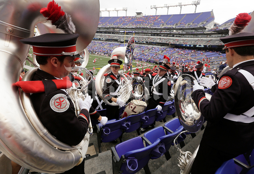 The Ohio State University Marching Band takes their seats before during Saturday's NCAA Division I football game between the Ohio State Buckeyes and the Navy Midshipmen at M&T Bank Stadium in Baltimore on August 30, 2014. (Dispatch Photo by Barbara J. Perenic)