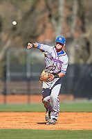 Louisiana Tech Bulldogs shortstop Chandler Hall (3) makes a throw to first base against the Charlotte 49ers at Hayes Stadium on March 28, 2015 in Charlotte, North Carolina.  The 49ers defeated the Bulldogs 9-5 in game two of a double header.  (Brian Westerholt/Four Seam Images)