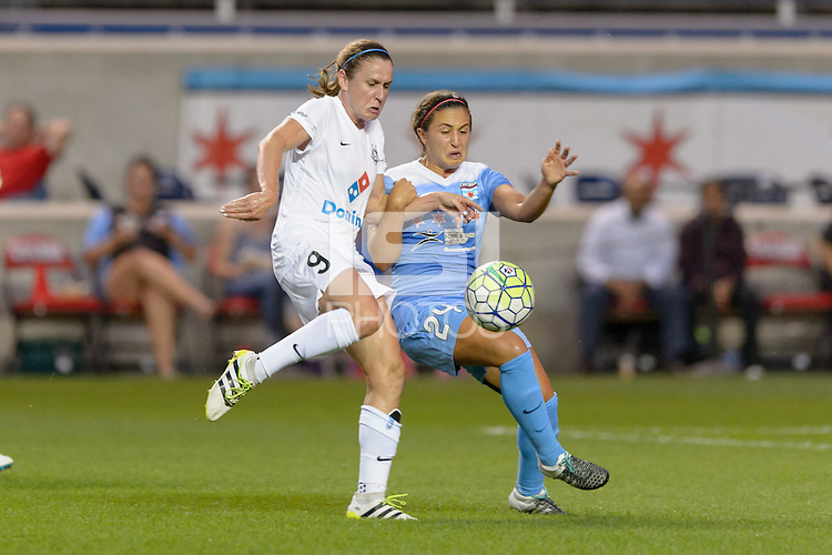 Chicago, IL - Wednesday Sept. 07, 2016: Heather O'Reilly, Danielle Colaprico during a regular season National Women's Soccer League (NWSL) match between the Chicago Red Stars and FC Kansas City at Toyota Park.