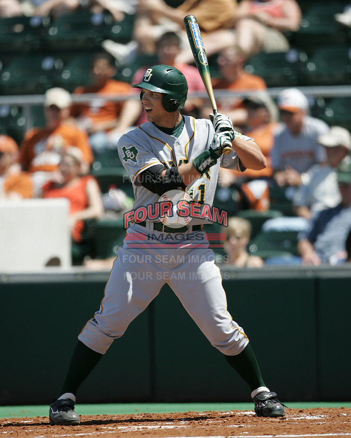 Baylor RF Aaron Miller prepares to bat against Texas on May 3rd, 2008. Photo by Andrew Woolley / Four Seam Images.