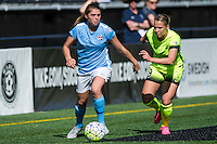 Seattle, WA - Sunday, April 17, 2016: Sky Blue FC defender Erica Skroski (8) maintains possession during the first half of the match at Memorial Stadium. Sky Blue FC defeated the Seattle Reign FC 2-1during a National Women's Soccer League (NWSL) match at Memorial Stadium.