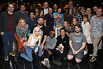 """Jill Abramovitz, Rob McClure, Leslie Kritzer, Sophia Anne Caruso, Adam Dannheisser, Danny Rutigliano, Kelvin Moon Loh and Alex Brightman with cast during the Broadway Opening Night Actors' Equity Legacy Robe Ceremony honoring Jill Abramovitz for """"Beetlejuice"""" at The Wintergarden on April 25, 2019  in New York City."""