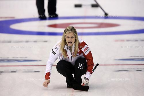 Jennifer Jones (CAN),<br /> MARCH 19, 2015 - Curling : World Women's Curling Championship 2015 Round Robin match between Japan and Canada at Tsukisamu Gymnasium in Sapporo, Hokkaido, Japan. (Photo by Jun Tsukida/AFLO SPORT)