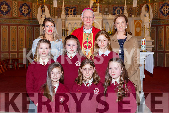 Pupils from Scoil Muire Gan Smal Castleisland with Bishop Ray Browne Principal Maire Ní Lionsigh, teacher Claire Smith at the Confirmation in St Stephens and Johns church Castleisland on Thursday l-r: Wiktoria Brzozlea, Gabriella Socha, Louise Callaghan, Siobhan Mahony, Maria Greaney and Oliwia Gruszka