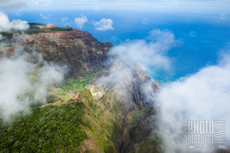 An aerial view of Na Pali Coast from behind the cliffs on Kaua'i.
