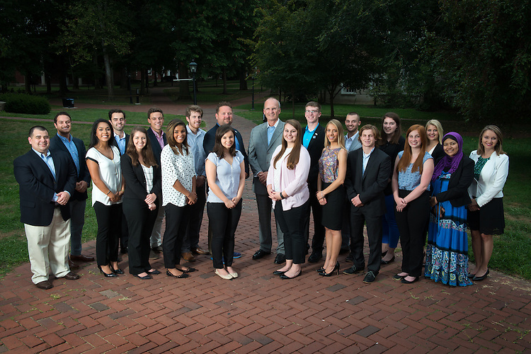 Faculty and students from Ohio University's College of Business pose on the College Green on August 24, 2016.