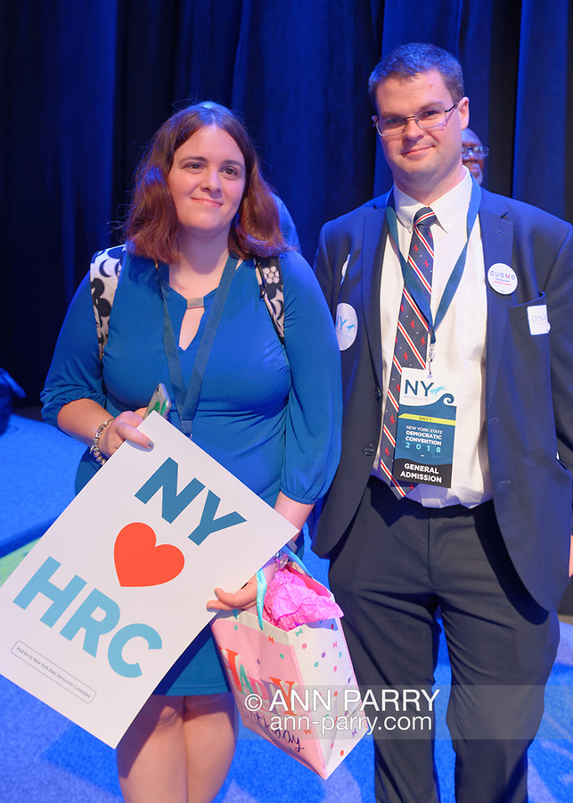 Hempstead, New York, USA. May 23, 2018. Some delegates and other audience members circulate in convention hall during Day 1 of New York State Democratic Convention at Hofstra University.