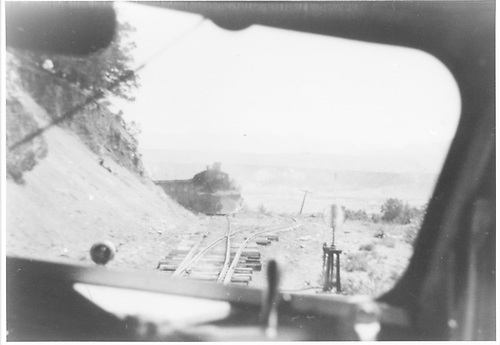 RGS Goose #5 prepares to go in the hole for freight pulled by #463.  Picture is taken from cab of Goose #5.<br /> RGS    Taken by Kelley, Frank O. - 8/27/1948