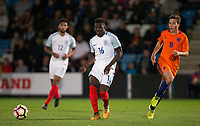 Ronaldo Vieira (Leeds United) of England U20 plays a pass as Carel Eiting (Jong Ajax) of Netherlands looks on during the International friendly match between England U20 and Netherlands U20 at New Bucks Head, Telford, England on 31 August 2017. Photo by Andy Rowland.