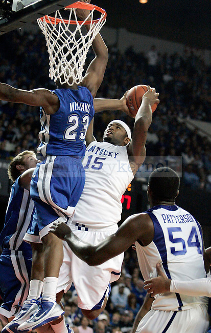 Freshman forward DeMarcus Cousins takes a shot the second half of UK's 94-57 win over UNC Asheville at Freedom Hall on Monday, Nov. 30, 2009. Photo by Britney McIntosh | Staff