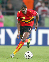 Loco (20) on the attack for Angola.Mexico and Angola played to a 0-0 tie in their FIFA World Cup Group D match at FIFA World Cup Stadium, Hanover, Germany, June 16, 2006.