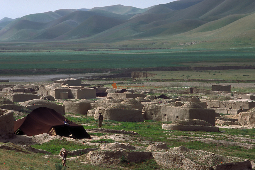 Afghan village with nomad kuchi tent