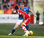 Aberdeen v St Johnstone...03.10.15   SPFL   Pittodrie, Aberdeen<br /> Brian Easton and Shay Logan<br /> Picture by Graeme Hart.<br /> Copyright Perthshire Picture Agency<br /> Tel: 01738 623350  Mobile: 07990 594431