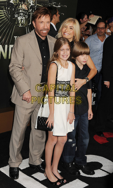Chuck Norris, Gena O'Kelley, Dakota Norris, Danilee Norris.'The Expendables 2' premiere held at The Grauman's Chinese Theatre, Hollywood, California, USA..15th August 2012.full length black lace arms around married husband wife children family black shirt beige beard facial hair kids.CAP/ROT/TM.©Tony Michaels/Roth Stock/Capital Pictures