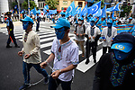 JUNE 29, 2019 - Uyghur activists wear chains while marching at a demonstration during the G20 Summit in Osaka, Japan. (Photo by Ben Weller/AFLO) (JAPAN) [UHU]
