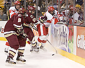 Nathan Gerbe, Kevin Schaeffer, Stephen Gionta, Brad Zancanaro - The Boston University Terriers defeated the Boston College Eagles 2-1 in overtime in the March 18, 2006 Hockey East Final at the TD Banknorth Garden in Boston, MA.