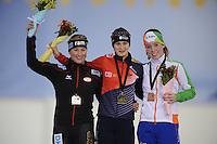 SCHAATSEN: SALT LAKE CITY: Utah Olympic Oval, 15-11-2013, Essent ISU World Cup, podium 3000m Claudia Pechstein (GER), Martina Sábliková (CZE), Antoinette de Jong (NED), ©foto Martin de Jong