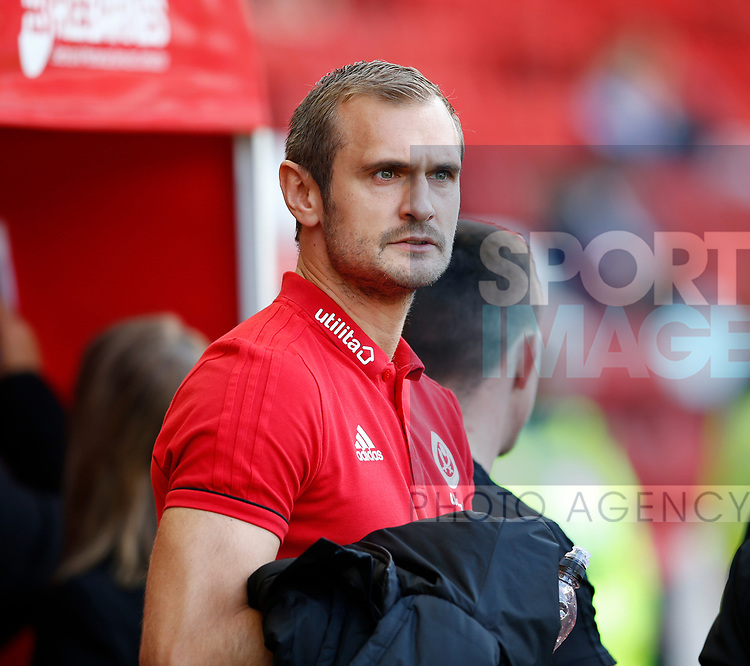 James Hanson of Sheffield Utd during the English Championship League match at Bramall Lane Stadium, Sheffield. Picture date: August 5th 2017. Pic credit should read: Simon Bellis/Sportimage