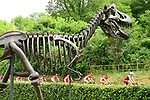 The peloton pass by a dinosaur during Stage 10 of the 104th edition of the Tour de France 2017, running 178km from Perigueux to Bergerac, France. 11th July 2017.<br /> Picture: ASO/Alex Broadway | Cyclefile<br /> <br /> <br /> All photos usage must carry mandatory copyright credit (&copy; Cyclefile | ASO/Alex Broadway)