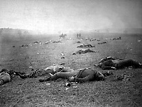 A Harvest of Death. Gettysburg, July 1863. Timothy O'Sullivan. (War Dept.)<br /> Exact Date Shot Unknown<br /> NARA FILE #: 165-SB-36<br /> WAR & CONFLICT BOOK #:  253