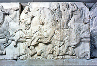 Greek Art:  Parthenon Sculptures, North Frieze XXXVIII.  Horsemen riding at a gallop.  Trustees of the  British Museum 1986.
