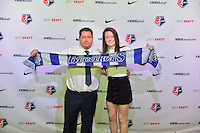 Los Angeles, CA - Thursday January 12, 2017: Boston Breakers Head Coach Matt Beard, Rose Lavelle during the 2017 NWSL College Draft at JW Marriott Hotel.