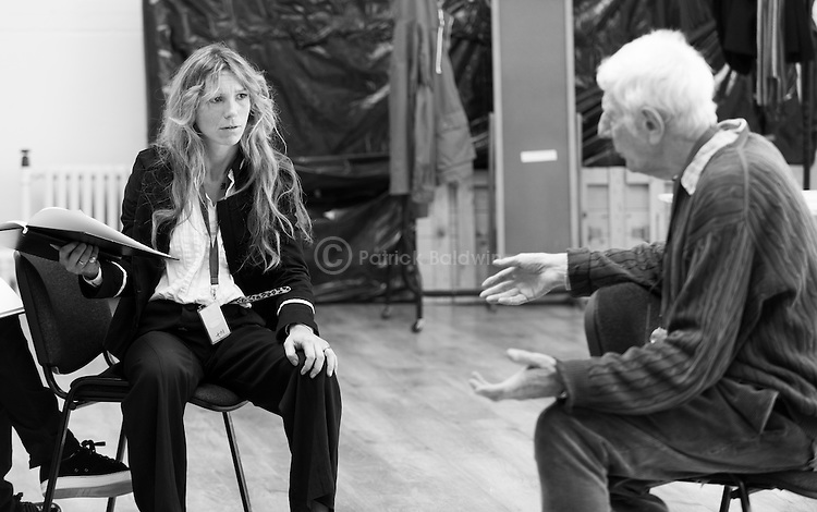 """King Lear"" rehearsed reading rehearsals. Old Vic Theatre. Director: Jonathan Miller. Honeysuckle Weeks, Jonathan Miller."
