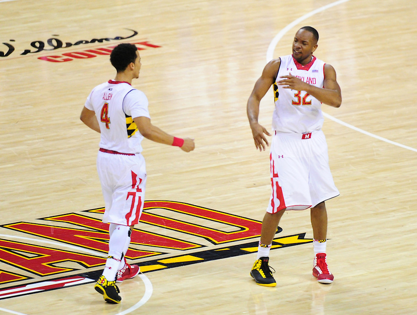 Seth Allen and Dez Well of the Terrapins are fired up. Maryland defeated Duke 81-83 at the Comcast Center in College Park, MD on Saturday, February 16, 2013. Alan P. Santos/DC Sports Box