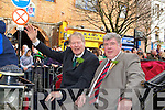 Michael O'Muircheartiagh and Sen Counihan arrive to start the Killarney St Patricks parade on Thursday
