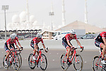 Alberto Contador (ESP) with his Trek-Segafredo team in action during Stage 2 the Nation Towers Stage of the 2017 Abu Dhabi Tour, running 153km around the city of Abu Dhabi, Abu Dhabi. 24th February 2017<br /> Picture: ANSA/Claudio Peri | Newsfile<br /> <br /> <br /> All photos usage must carry mandatory copyright credit (&copy; Newsfile | ANSA)