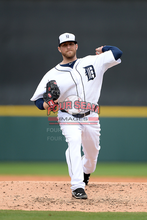 Detroit Tigers pitcher Ian Krol (46) during a spring training game against the Atlanta Braves on February 27, 2014 at Joker Marchant Stadium in Lakeland, Florida.  Detroit defeated Atlanta 5-2.  (Mike Janes/Four Seam Images)