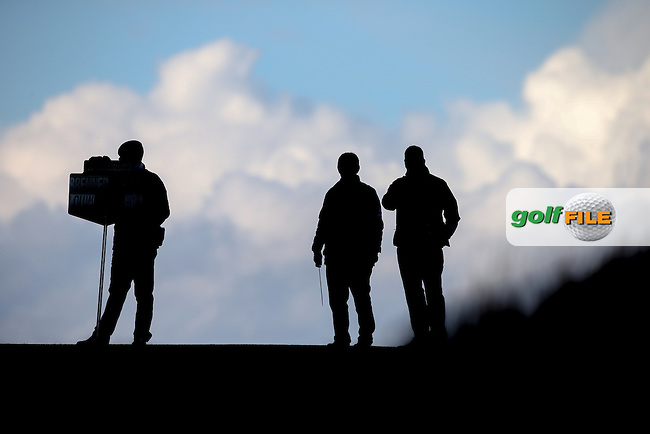 As the weather brakes large clouds appear during R3 at Kingsbarns of the 2014 Alfred Dunhill Links Championship, The Old Course, St Andrews, Fife, Scotland. Picture:  David Lloyd / www.golffile.ie