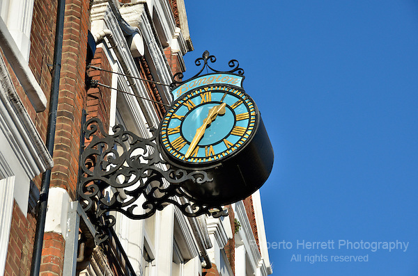 Bangton clock in Muswell Hill Broadway, Muswell Hill, London, UK.