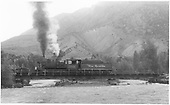 Engine #360 on deck bridge on north leg of wye.<br /> D&amp;RGW  Cimarron, CO  Taken by Richardson, Robert W. - 7/7/1949