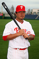 February 24, 2010:  Catcher Dane Sardinha (61) of the Philadelphia Phillies poses during photo day at Bright House Field in Clearwater, FL.  Photo By Mike Janes/Four Seam Images