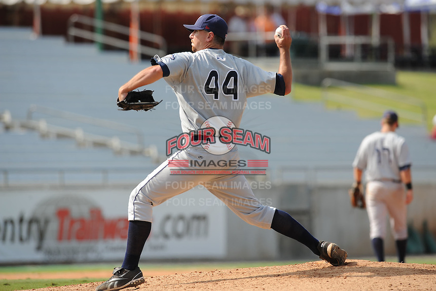 Mike McClendon Pitcher Huntsville Stars (Milwaukee Brewers) delivers a pitch during the Southern League Playoffs at Smokies Park in Sevierville, TN September 13, 2009 (Photo by Tony Farlow/ Four Seam Images)