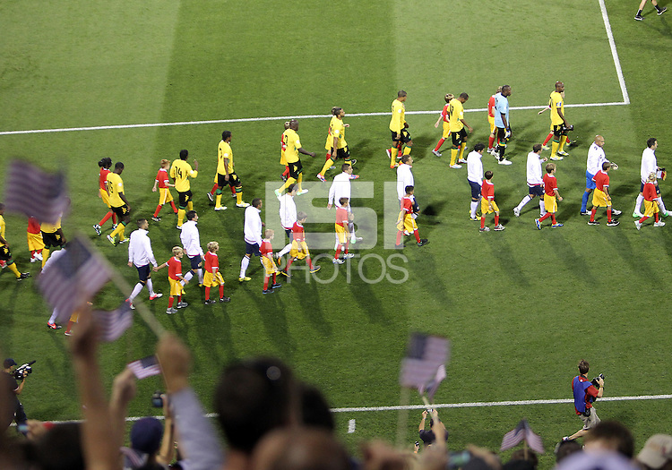 COLUMBUS, OHIO - SEPTEMBER 11, 2012:  Players of the USA MNT and Jamaica enter the field during a CONCACAF 2014 World Cup qualifying  match at Crew Stadium, in Columbus, Ohio on September 11. USA won 1-0.