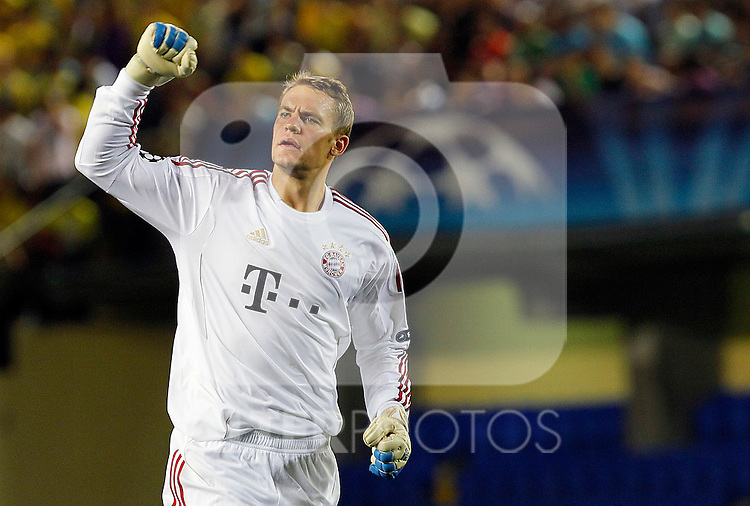 FC Bayern Munchen's Manuel Neuer celebrates goal during UEFA Champions League match.September 14,2011.(ALTERPHOTOS/Acero)