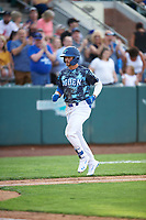 Sam McWilliams (5) of the Ogden Raptors in action against the Grand Junction Rockies at Lindquist Field on June 14, 2019 in Ogden, Utah. The Raptors defeated the Rockies 12-0. (Stephen Smith/Four Seam Images)
