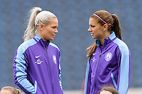 Bridgeview, IL, USA - Sunday, May 1, 2016: Orlando Pride goalkeeper Ashlyn Harris (1) and forward Alex Morgan (13) before a regular season National Women's Soccer League match between the Chicago Red Stars and the Orlando Pride at Toyota Park. Chicago won 1-0.