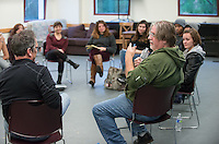 Matt Groening, creator of The Simpsons, talks to professor Jamie Angell's class, Theater 204: Comedy & Social Change, in the Keck Theater rehearsal room, Dec. 2, 2014. (Photo by Marc Campos, Occidental College Photographer)