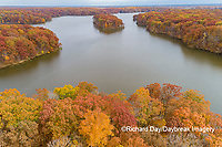 63895-16614 Aerial view Stephen A. Forbes State Park Lake in fall Marion Co. IL