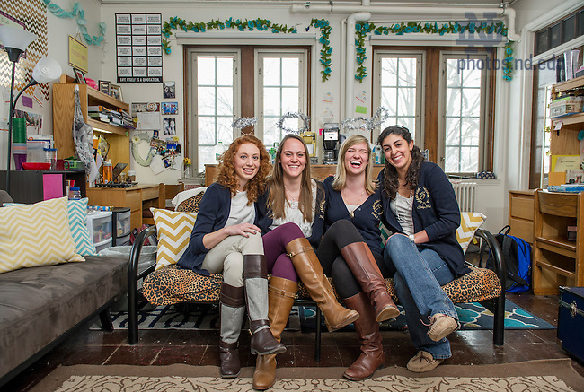 Feb. 21, 2015; Students (left-right) Casey Skevington, Michelle Summers, Brigid Mumford and Rebecca Almeida in the Princess Room of Farley Hall. (Photo by Barbara Johnston/University of Notre Dame)