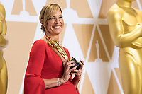 Allison Janney poses backstage with the Oscar&reg; for Best Performance by an Actress in a Supporting Role for work on &ldquo;I, Tonya&rdquo; during the live ABC Telecast of The 90th Oscars&reg; at the Dolby&reg; Theatre in Hollywood, CA on Sunday, March 4, 2018.<br /> <br /> *Editorial Use Only*<br /> CAP/PLF/AMPAS<br /> Supplied by Capital Pictures