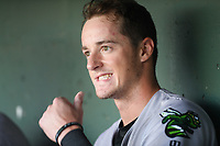 Shortstop Tyler Fitzgerald (6) of the Augusta GreenJackets in the dugout before a game against the Greenville Drive on Thursday, August 29, 2019, at Fluor Field at the West End in Greenville, South Carolina. Augusta won, 11-0. (Tom Priddy/Four Seam Images)